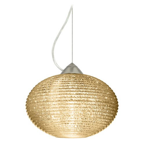 Besa Lighting Besa Lighting Pape Satin Nickel LED Pendant Light with Globe Shade 1KX-4913GD-LED-SN
