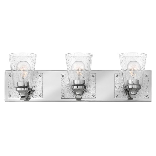 Hinkley Hinkley Jackson 3-Light Polished Nickel Bathroom Light with Clear Seeded Glass 51823PN