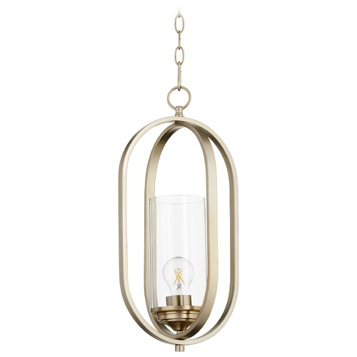 Quorum Lighting Quorum Lighting Collins Aged Brass Pendant Light with Cylindrical Shade 3044-80