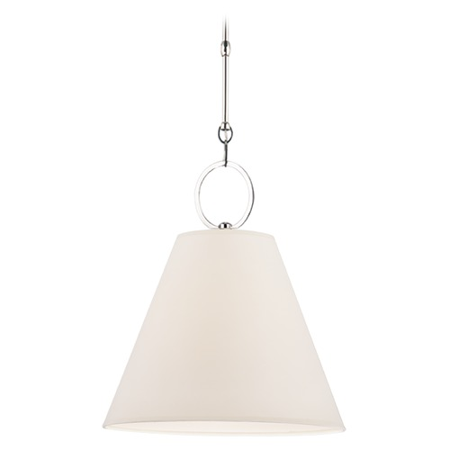 Hudson Valley Lighting Modern Pendant Light with White Paper Shade in Polished Nickel Finish 5615-PN