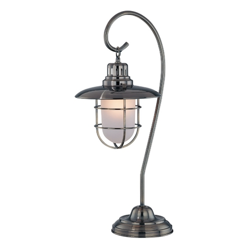 Lite Source Lighting Modern Table Lamp with White Shade in Antique Brass Finish LS-21455AB