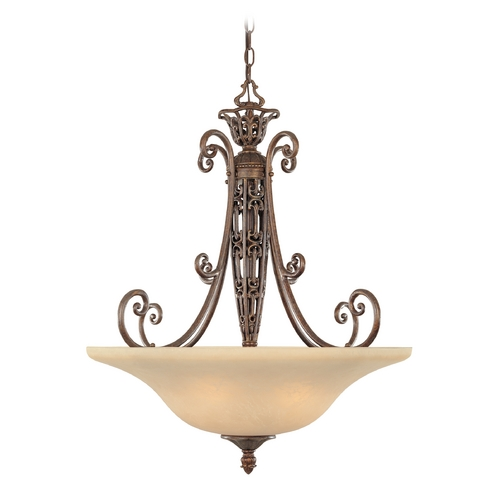 Designers Fountain Lighting Pendant Light with Beige / Cream Glass in Burnt Umber Finish 97531-BU