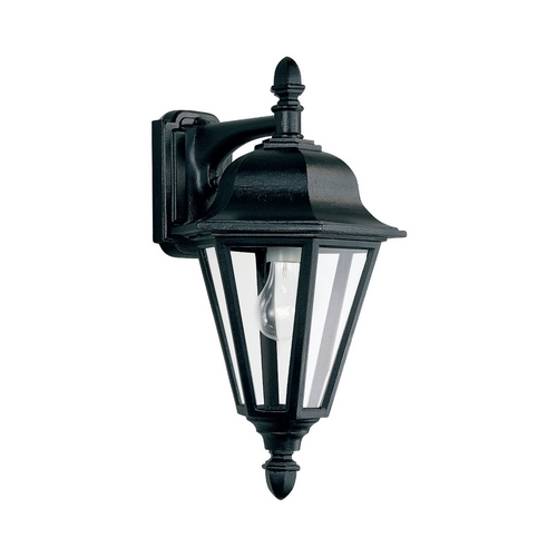 Sea Gull Lighting Outdoor Wall Light with Clear Glass in Black Finish 8825-12