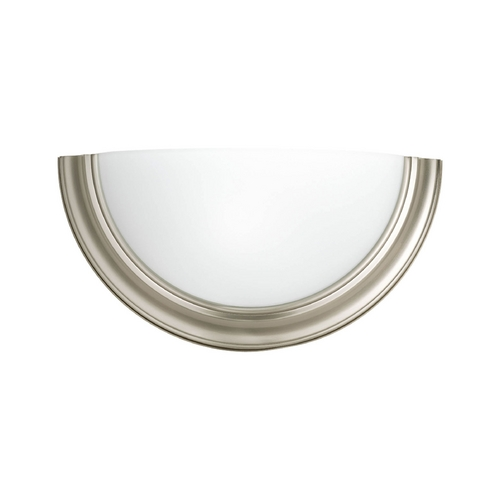 Progress Lighting Sconce Wall Light with White Glass in Brushed Nickel Finish P7170-09