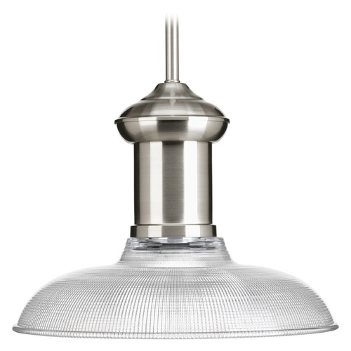 Progress Lighting Progress Lighting Brookside Brushed Nickel Pendant Light with Bowl / Dome Shade P5181-09