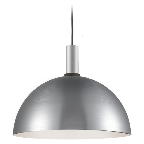 Kuzco Lighting Kuzco Lighting Archibald Brushed Nickel / Black Pendant Light with Bowl / Dome Shade 492316-BN/BK