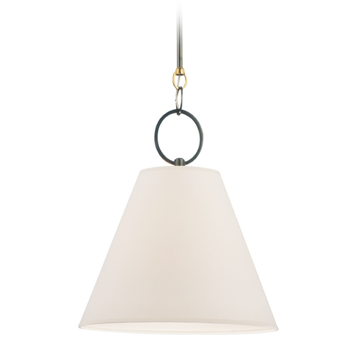 Hudson Valley Lighting Modern Pendant Light with White Paper Shade in Distressed Bronze Finish 5618-DB