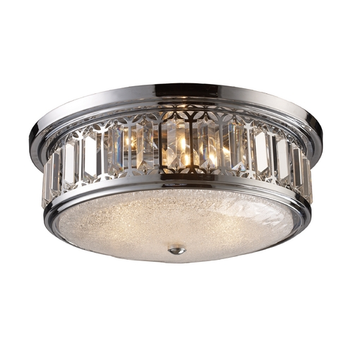 Elk Lighting Modern Flushmount Light with White Glass in Polished Chrome Finish 11227/3
