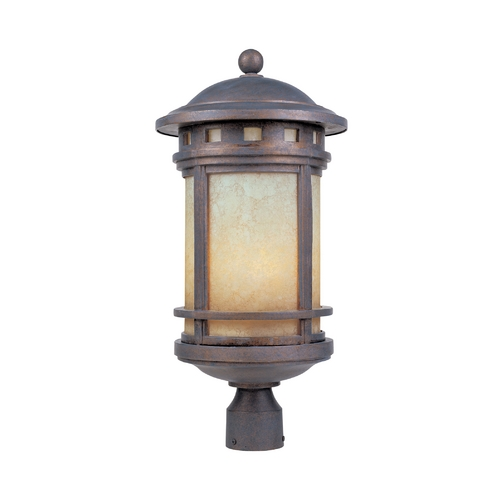 Designers Fountain Lighting Post Light with Amber Glass in Mediterranean Patina Finish 2396-AM-MP