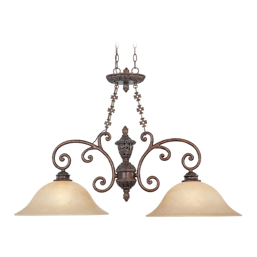 Designers Fountain Lighting Pendant Light with Beige / Cream Glass in Burnt Umber Finish 97538-BU