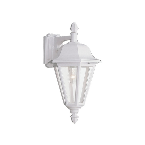 Sea Gull Lighting Outdoor Wall Light with Clear Glass in White Finish 8825-15