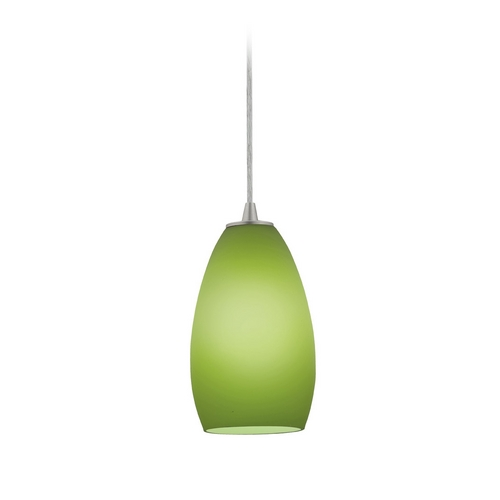 Access Lighting Modern Mini-Pendant Light with Green Glass 28012-2C-BS/LGR