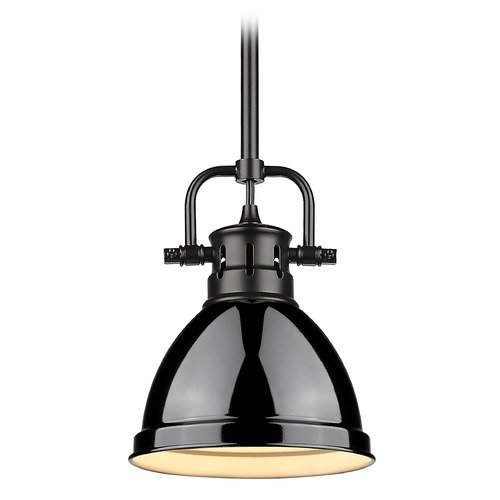 Golden Lighting Golden Lighting Duncan Black Mini-Pendant Light with Gloss Black Shade 3604-M1LBLK-BK