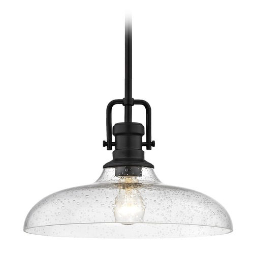 Design Classics Lighting Seeded Glass Pendant Light Black Finish  14-Inch Wide 1763-07 G1784-CS