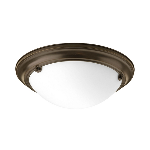 Progress Lighting Flushmount Light with White Glass in Antique Bronze Finish P3480-20