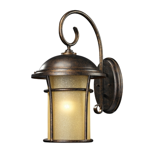 Elk Lighting Outdoor Wall Light with Amber Glass in Regal Bronze Finish 45037/1