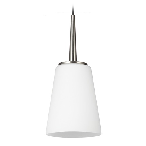 Sea Gull Lighting Sea Gull Lighting Driscoll Brushed Nickel Mini-Pendant Light with Empire Shade 6140401-962