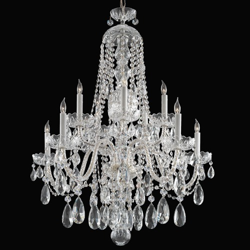 Crystorama Lighting Crystorama Traditional 2-Tier 10-Light Crystal Chandelier in Polished Chrome 1110-CH-CL-SAQ