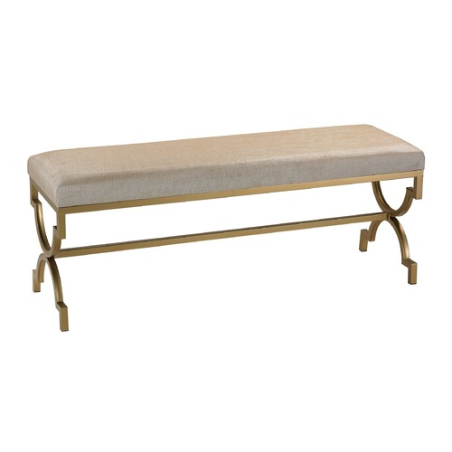 Sterling Lighting Double Bench in Cream Metallic Linen 180-003