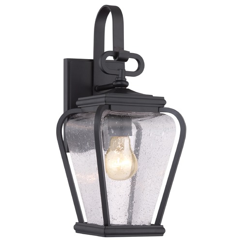 Quoizel Lighting Seeded Glass Outdoor Wall Light Black Quoizel Lighting PRV8406K