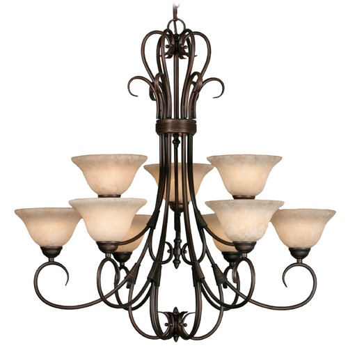 Golden Lighting Golden Lighting Homestead Rubbed Bronze Chandelier 8606-9 RBZ-TEA
