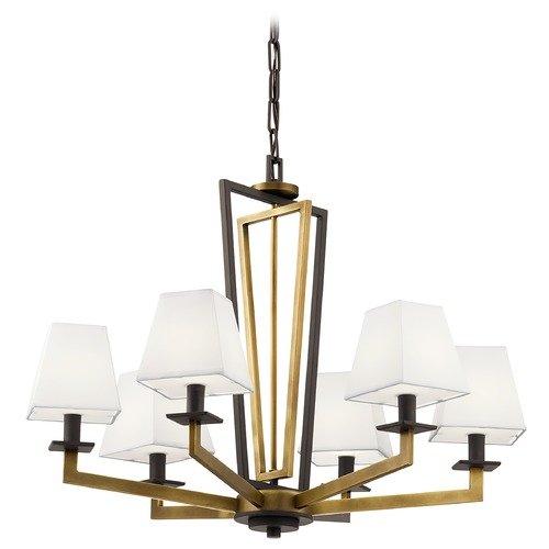 Kichler Lighting Dancar 6-Light Natural Brass Chandelier with White Fabric Shade 44022NBR