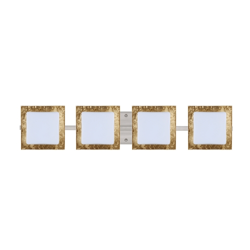 Besa Lighting Modern Bathroom Light with Gold Glass in Satin Nickel Finish 4WS-7735GF-SN
