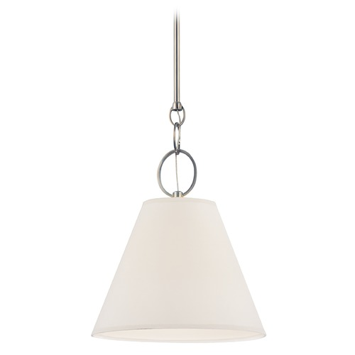 Hudson Valley Lighting Modern Pendant Light with White Paper Shade in Historic Nickel Finish 5618-HN