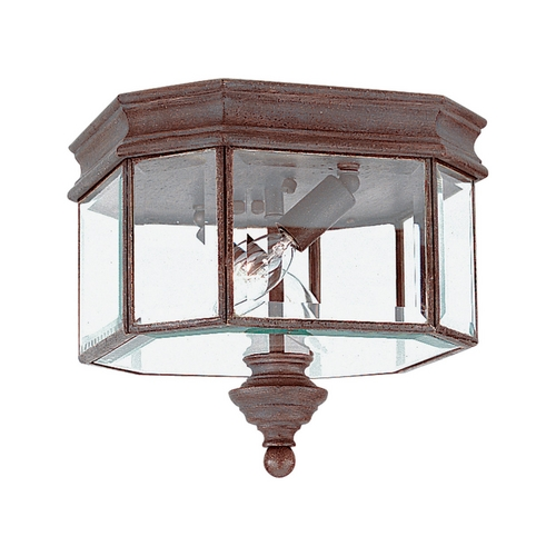 Sea Gull Lighting Close To Ceiling Light with Clear Glass in Textured Rust Patina Finish 8834-08
