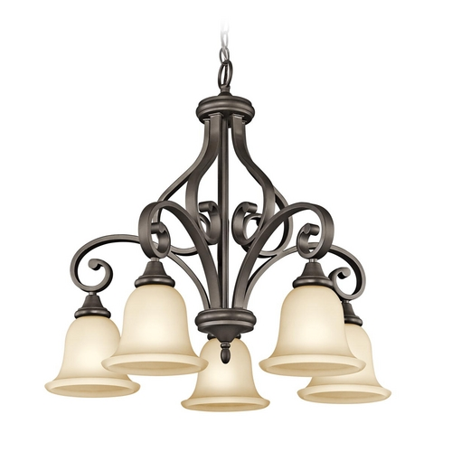 Kichler Lighting Kichler Chandelier with Amber Glass in Olde Bronze Finish 43158OZ