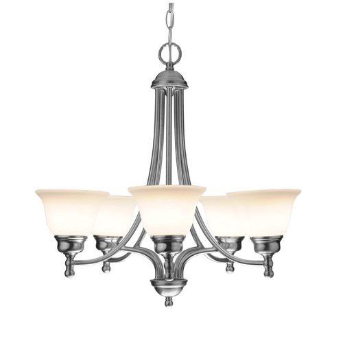 Design Classics Lighting Satin Nickel Chandelier with Five Lights 7005-09
