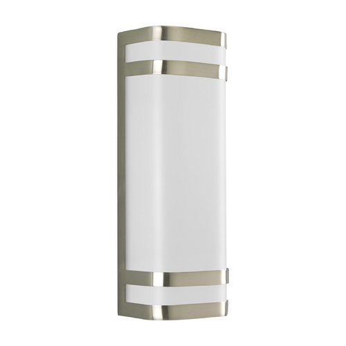Progress Lighting Progress Modern Outdoor Wall Light with White in Brushed Nickel Finish P5806-09