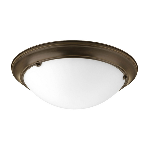 Progress Lighting Flushmount Light with White Glass in Antique Bronze Finish P3481-20