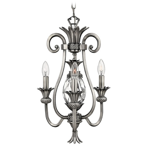 Hinkley Lighting Mini-Chandelier with Clear Glass in Polished Antique Nickel Finish 4103PL