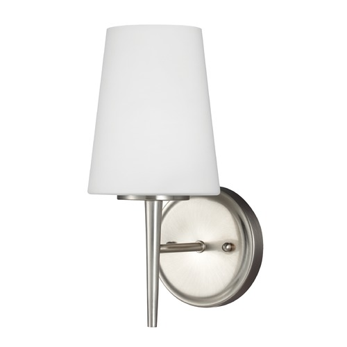 Sea Gull Lighting Mid-Century Modern Sconce Brushed Nickel Driscoll by Sea Gull Lighting 4140401-962