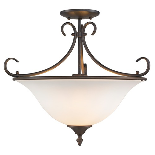 Golden Lighting Golden Lighting Homestead Rubbed Bronze Semi-Flushmount Light 8606-SF RBZ-OP