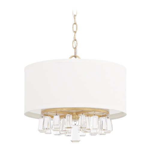 Capital Lighting Capital Lighting Milan Capital Gold Pendant Light with Drum Shade 319741CG-675