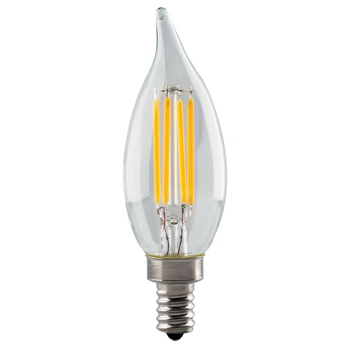 Satco Lighting Satco 4.5 Watt CA11 LED Clear Candelabra Base 2700K 350 Lumens 120 Volt Dimmable S8552