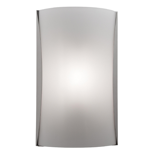 Access Lighting Modern Sconce Wall Light with White Glass in Brushed Steel Finish 62050-BS/CKF