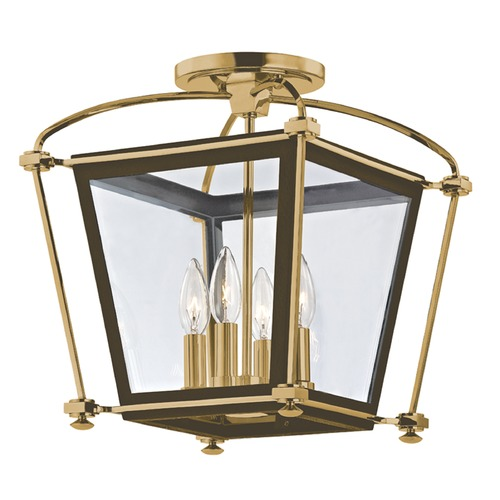Hudson Valley Lighting Semi-Flushmount Light with Clear Glass in Aged Brass Finish 3610-AGB