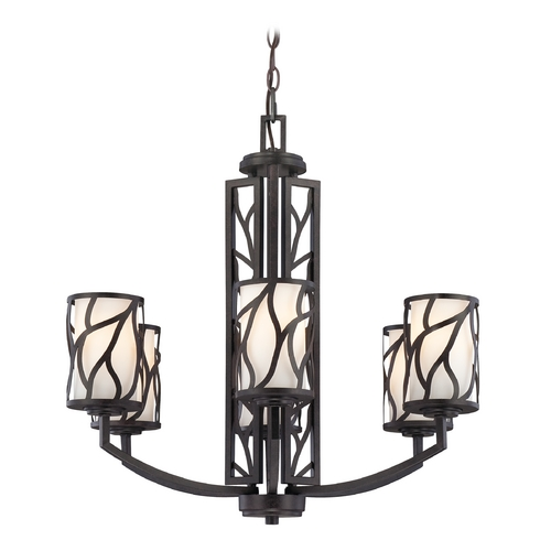 Designers Fountain Lighting Chandelier with White Glass in Artisan Finish 83786-ART