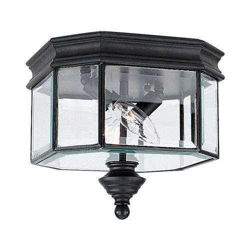 Sea Gull Lighting Close To Ceiling Light with Clear Glass in Black Finish 8834-12