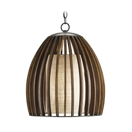 Currey and Company Lighting Modern Pendant Light with Brown Tones Grasscloth Shade in Old Iron/polished Fruitwood Finish 9099