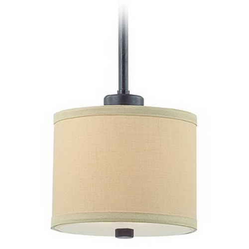 Dolan Designs Lighting Iron Finish Mini-Pendant with Beige Drum Shade 2941-34