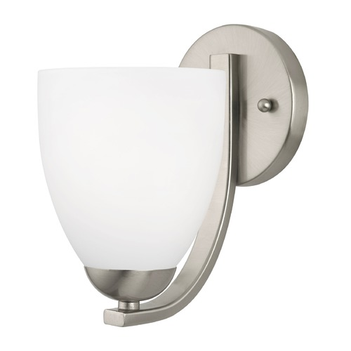 Design Classics Lighting Modern Sconce with Satin White Bell Glass Shade 585-09 GL1028MB