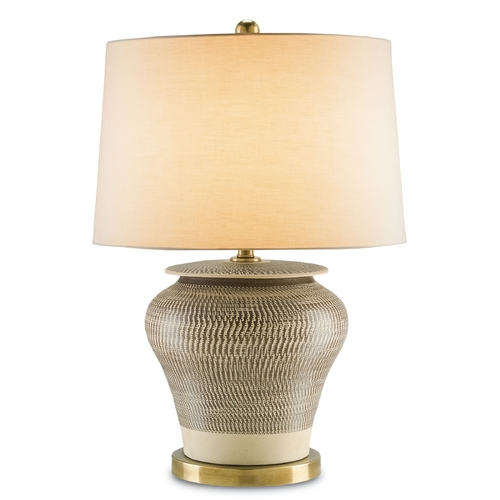 Currey and Company Lighting Currey and Company Lighting Cream with Brown / Antique Brass Table Lamp with Drum Shade 6276
