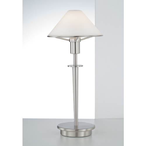 Holtkoetter Lighting Holtkoetter Modern Table Lamp with White Glass in Satin Nickel Finish 6506 SN SW
