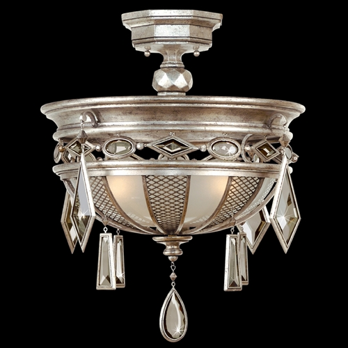Fine Art Lamps Fine Art Lamps Encased Gems Vintage Silver Leaf Semi-Flushmount Light 727140-3ST