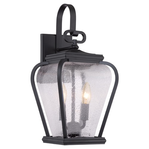 Quoizel Lighting Seeded Glass Outdoor Wall Light Black Quoizel Lighting PRV8408K