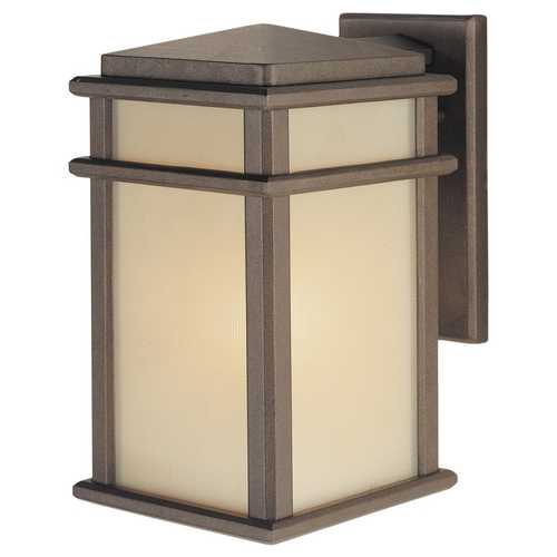 Feiss Lighting Outdoor Wall Light with Amber Glass in Corinthian Bronze Finish OL3401CB